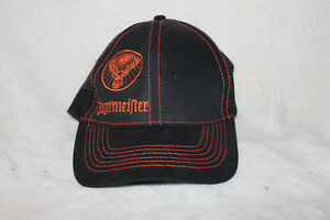 503bc488b1f Image is loading Jagermeister-Snapback-Trucker-Cap-Hat-Black-Orange-Mesh-