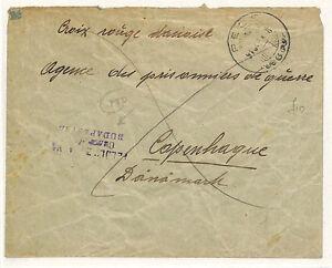W61 1916 HUNGARY *Pest* Military POW Cover RED CROSS Denmark {samwells-covers}