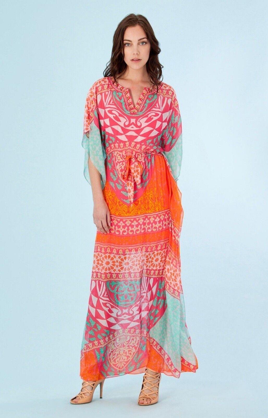 868b02a875c NWT Hale Bob Multi color SILK Long Kaftan Dress 6RTW6975-fuchsia ...