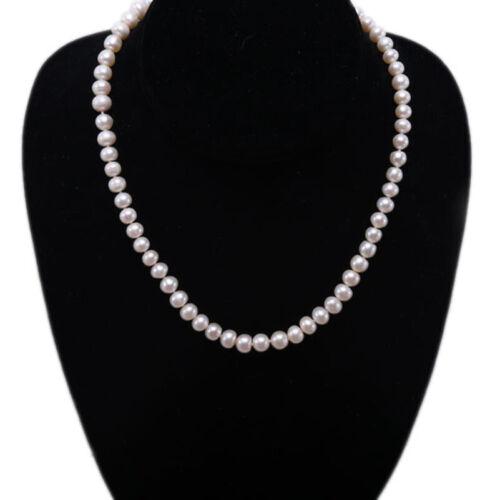 """Fashion Femmes 6-7 Mm Blanc Véritable Culture D/'eau douce collier de perles 17/"""""""