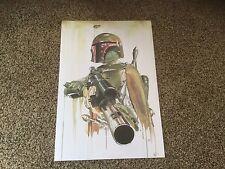 """New Disney Star Wars Poster.  16"""" L x 11"""" W.  Brian Rood.  Replica.  Boba Fett."""