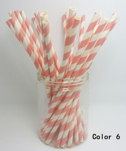 50 PCS Diagonal Striped Paper Drinking Straws Wedding Birthday Party Color1-20