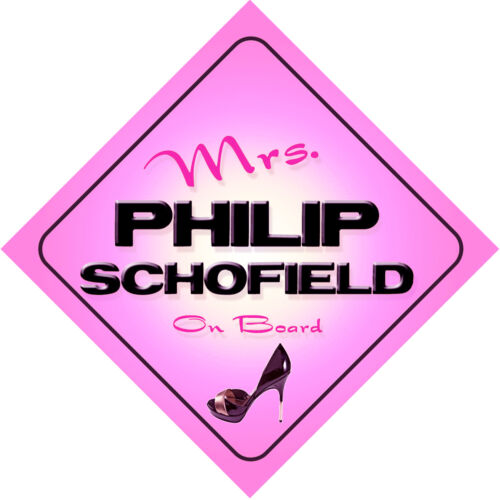 Mrs Philip Schofield on Board Baby Pink Car Sign