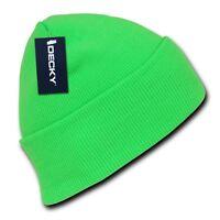 Neon Green Knit Cuff Beanie Hat Cap Skull Snowboard Winter Warm Ski Hats Beanies