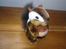 Gently Used Small CUTE Brown SCAMPERS Squirrel with Nut Plush Stuffed Animal –