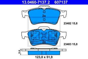 Bremsbelagsatz Scheibenbremse für Bremsanlage Hinterachse ATE 13.0460-7137.2