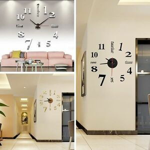 das bild wird geladen diy deko 3d stylisch design wanduhr wohnzimmer wanduhr - Wohnzimmer Wanduhr