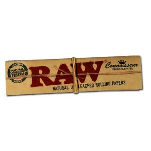 5 RAW Organic Connoisseur Kingsize Slim Rolling Papers with Tips-Authentic Stock