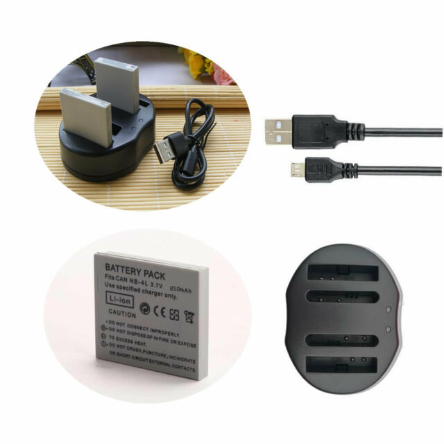 Li-ion Battery /DUAL USB Charger for CANON SD1400 SD1000 Digital IXUS 8015 NB-4L