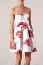 MSGM UK 6-8 US 2-4 IT 38-40 WHITE SATIN RED LIPS BUSTIER MINI COCKTAIL DRESS