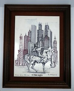 Eugene Andreyev Native Chicago Skyline Etching Signed 1982 Ltd Ed 168/5000 Horse