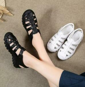 Womens-Leather-Summer-Closed-Toe-Hiking-Walking-Sports-Sandals-Fisherman-Shoes