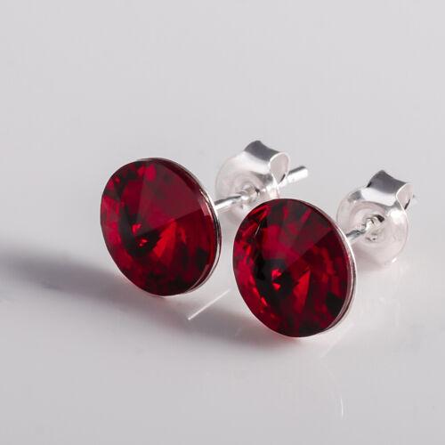 925 Plata Esterlina Aretes perforado Rojo Cristales de Swarovski ® Siam *