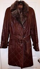 UGG Aspen Brown Quilted Pebbled Leather Spectacular Runway Coat Sz.S CHIC! $1900
