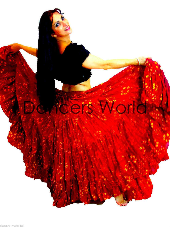 22.9m M Gonna di Cotone 91.4cm Bello red a Pois Tribale Gitano Danza Del