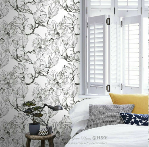 Magnolia Wall Paper Sticker Removable Mural Covering Art Decor Wallpaper B28