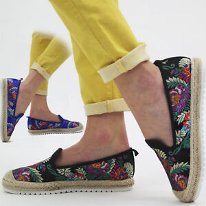 59d6b3cd5c9c Image is loading Womens-Embroidered-Loafers-Shoes-Ladies-Floral-Slip-On-