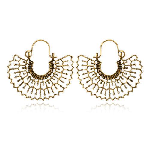 1Pair Women Vintage Boho Tibetan Silver Carved Beads Tassel Drop Dangle Earrings