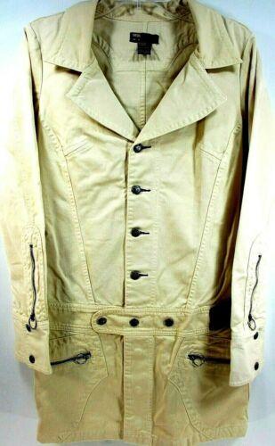 Diesel Women Long Coat Size M Beige Brass Buttons