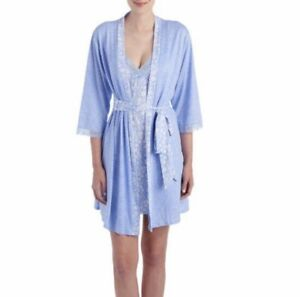 Laura-Ashley-Blue-night-gown-amp-robe-set-L-NWT