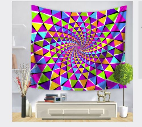 Trippy Geometrical Psychedelic Large 150 x 130 cm Tapestry Colorful
