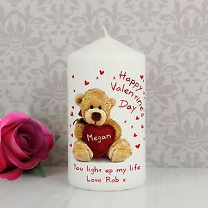 Personalised Happy Valentines Day Message Candle Gift Present For