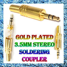 3.5mm 3 Pole Gold Male Headphone Replacement Audio Jack Plug Solder Connector