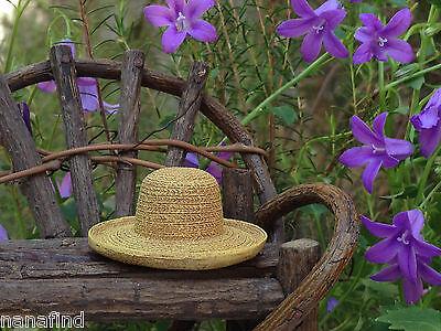 Miniature Dollhouse FAIRY GARDEN ~ Round Polyresin Straw Yard Garden Hat ~ NEW