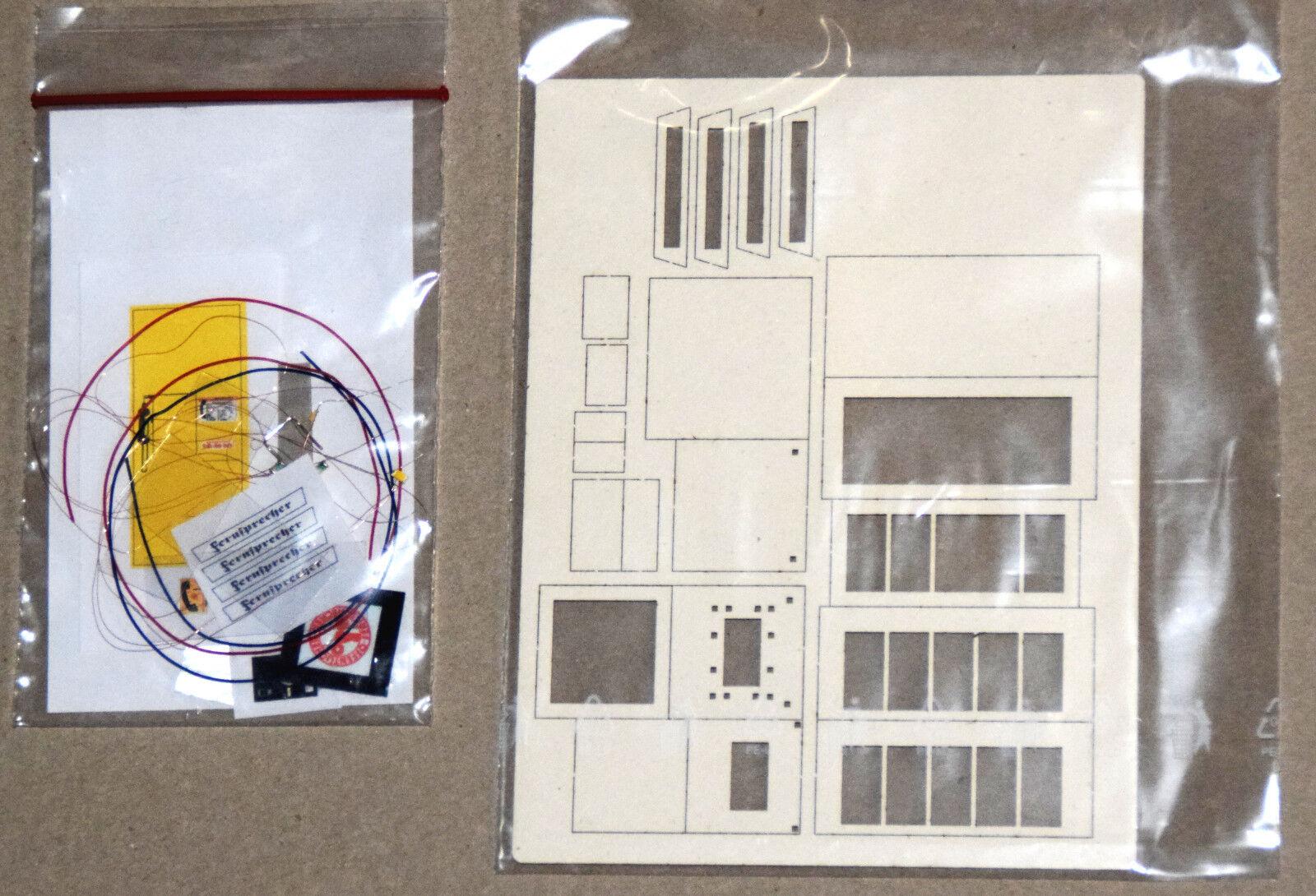 Je 1 x Bausatz Telefonzelle und Zeitungskiosk Spur 0