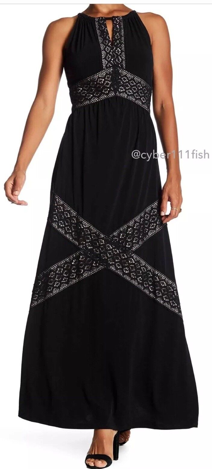 SOLD OUT    London Times Keyhole Lace Halter Maxi Dress BNWT