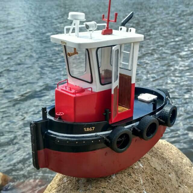 Mini Tugboat Rescue Simulation RC Scale 1 18 ABS Wooden Boat Model Ship Kit