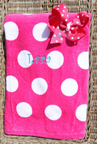 Personalized Embroidered Shocking Pink Polka Dot Bow /& Matching Beach Towel Set