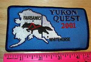 2001-Alaska-Yukon-Quest-1000-mile-Dog-Sled-Race-Embroidered-Patch-Beautiful
