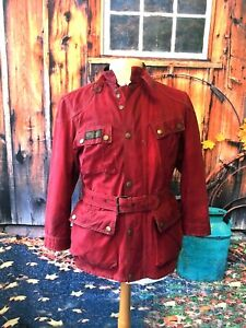 RARE-RED-BELSTAFF-1948-TRIALMASTER-WAXED-COTTON-MOTORCYCLE-JACKET-42-CH-UK