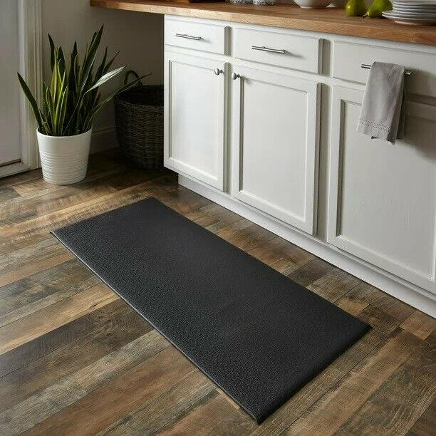 "Anti Fatigue Kitchen Floor Mat, 45""x20"", Cushioned Kitchen Mat, Black"