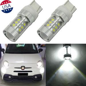 2x-7443-Cool-White-80W-16-SMD-LED-Daytime-Running-Lights-for-Fiat-500-2009-2019