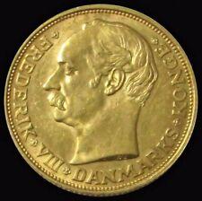1908 VBP GOLD 8.9606 GRAMS DENMARK 20 KRONER FREDERICK VIII COIN