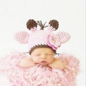Newborn Babys Girls Crochet Knit Hat Costume Photo Photography Prop Outfits Cap