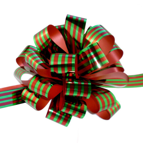 """Metallic Red /& Green Pull Bows with Tails 8/"""" Wide Set of 6"""