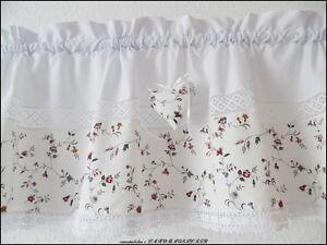 landhausgardine shabby chic rosen ranken herz scheibengardine vintage ebay. Black Bedroom Furniture Sets. Home Design Ideas