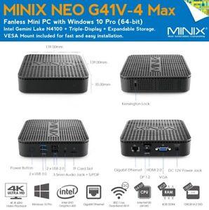 MINIX NEO G41V-4 MAX MINI SLIM senza ventole PC Desktop Computer Wireless WiFi HDMI