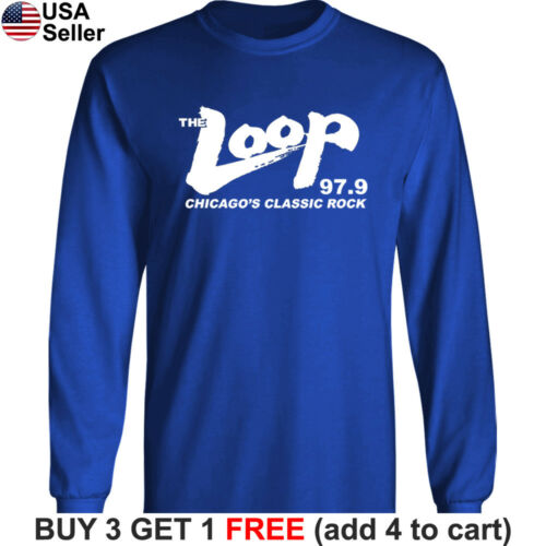 THE LOOP Long T-Shirt Chicago/'s Classic Rock 97.9 FM Radio Station 98 R.I.P RIP