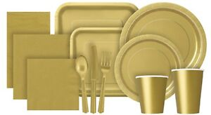Gold-Solid-Colour-Paper-Tableware-Plates-Napkins-Cups-Plastic-Cutlery