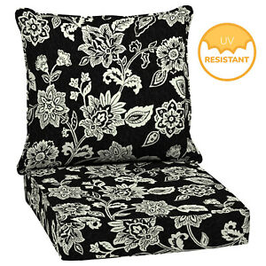 Details About Outdoor Deep Seat Chair Patio Cushions Set Black Pad Uvresistant Porch Furniture