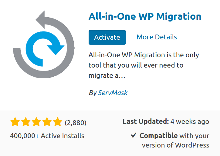 AIOWPM All-in-one WP Migration Unlimited Extension Wordpress Plugin By ServMask 2