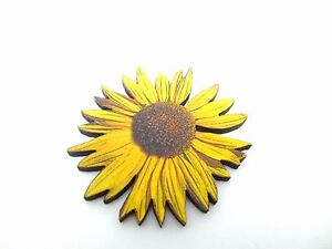 269ddba2c1e Image is loading VIBRANT-YELLOW-STATEMENT-SUNFLOWER-WOODEN-BROOCH-PIN -SUMMER-