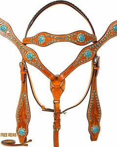 TURQUOISE-WESTERN-SHOW-HORSE-TACK-SET-BLING-BARREL-RACING-CRYSTAL-BRIDLE