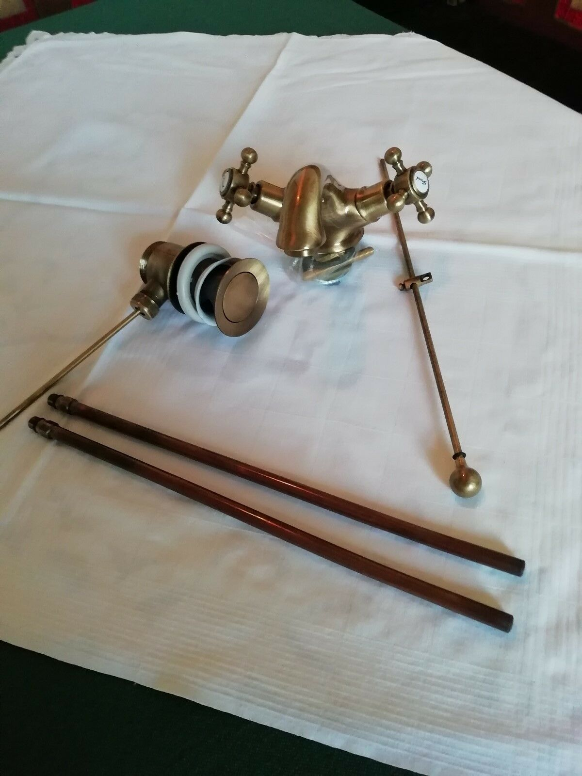 Waschtischarmatur Kreuzgriff, antik Bronze - neu