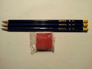 3-Bleistifte-1-Radiergummi-lt-NEU-gt