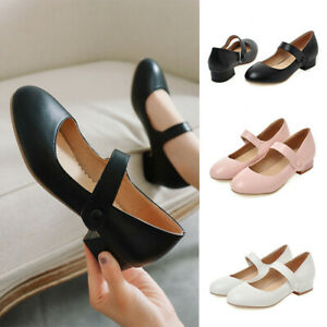 Women-Closed-Toe-Comfort-Ankle-Strap-Chunky-Heel-Round-Toe-Mary-Jane-Dress-Shoes
